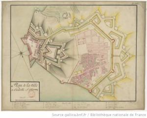 Carte Le Château projet fortification 1700