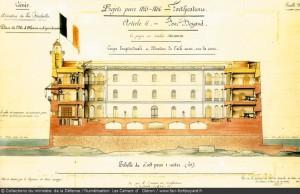 Boyard plan coupe de 1854 état prévu pour 1856