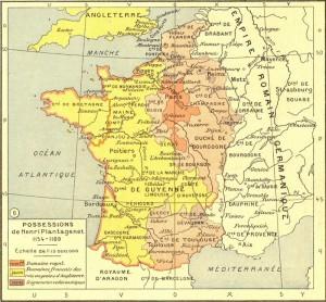 Possessions Plantagenêt fin du XII° siècle all